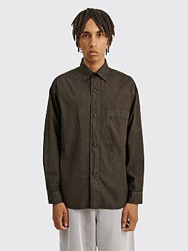 Margaret Howell MHL Oversized Work Shirt Compact Cotton Poplin Dark Green