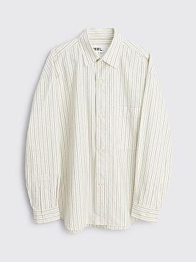 Margaret Howell MHL Oversized Work Shirt Cotton Stripe Off White / Khaki