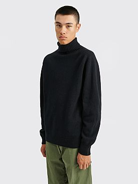 Margaret Howell Wide Roll Neck Merino Cashmere Twist Sweater Navy / Black