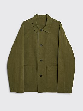 Margaret Howell Patch Pocket Overshirt Compact Cotton Linen Key Olive