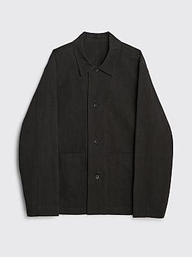 Margaret Howell Patch Pocket Overshirt Compact Cotton Linen Black