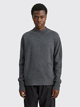 Margaret Howell Single Pocket Crew Neck Soft Merino Sweater Charcoal