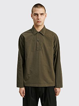 Margaret Howell MHL LS Polo Shirt Dry Cotton Poplin Forest