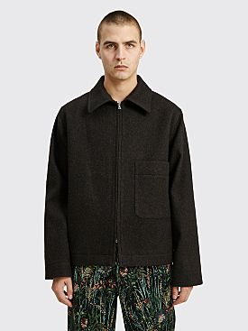 Margaret Howell Zip Up Jacket Wool Melton Ebony