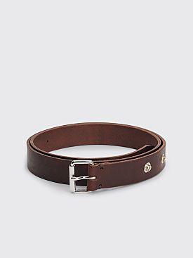 Margaret Howell MHL Press Stud Oil Leather Belt Dark Brown
