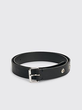 Margaret Howell MHL Press Stud Oil Leather Belt Black
