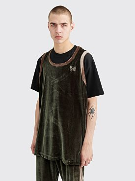 Needles Papillon Embroidery Side Line Tank Top Green
