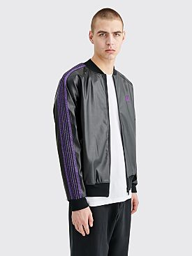 Needles Rib Collar Track Jacket Synthetic Leather Black
