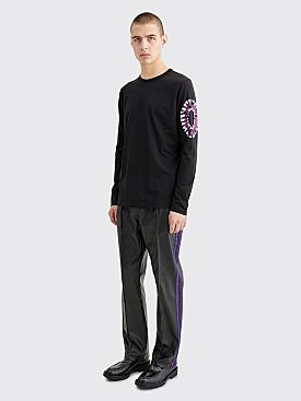 Needles Narrow Track Pants Synthetic Leather Black