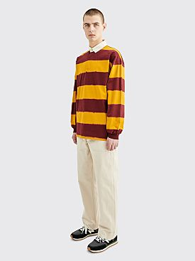 Needles Rugby Polo Shirt Wide Stripe Dyed Gold / Bordeaux