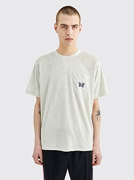 Needles Papillon Embroidery Pocket Velour T-shirt Off White