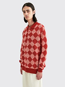 Needles Wool Polo Sweater Checkered Red