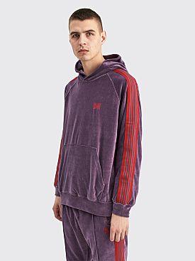 Needles Hooded Track Sweater Velour Purple