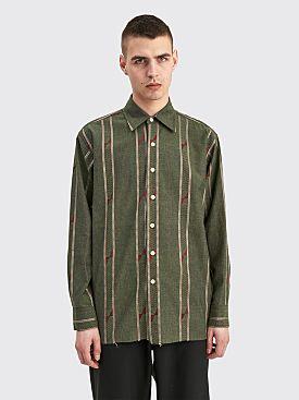 Needles COB Regular Collar Shirt India Dobby St Olive