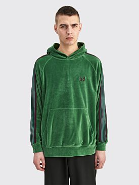 Needles Hooded Track Sweater Velour Green