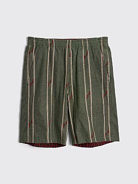 Needles Reversible Basketball Shorts India Dobby St Olive / Red