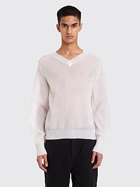 Our Legacy V-neck Raglan White Bubble Knit Sweater