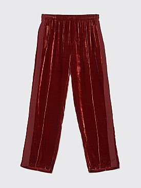 Our Legacy Track Pants Wine Velvet Sidestripe