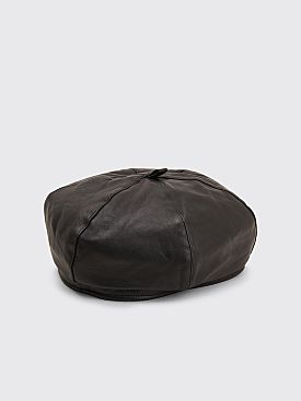 Our Legacy Leather Beret Black