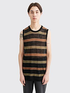 Our Legacy Knitted Singlet Linen Nylon Striped Black