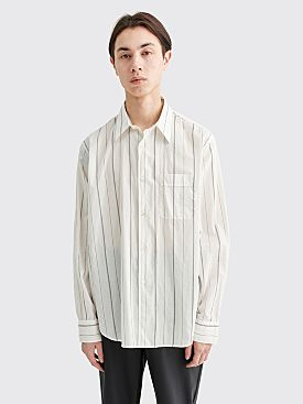 Our Legacy Policy Shirt Pin Stripe Print Voile White