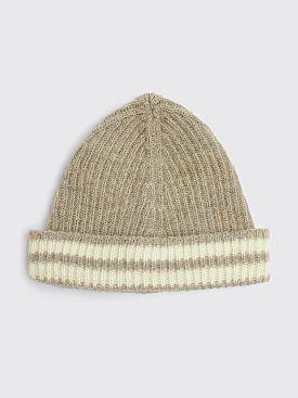 Our Legacy Knit Wool Hat Stripe Beige