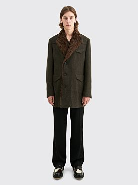 PHIPPS Heavy Wool Dress Coat Dark Moss