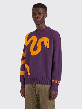 Polar Skate Co. Knitted Snake Sweater Prune / Orange