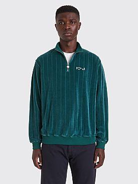 Polar Skate Co. Velour Zip Neck Sweatshirt Dark Green