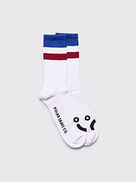Polar Skate Co. Happy Sad Socks Stripes White / Blue