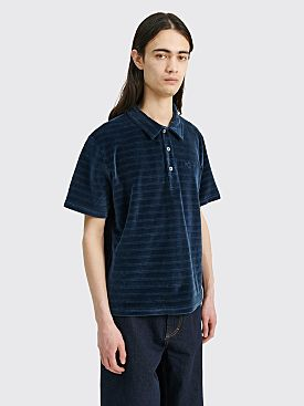 Polar Skate Co. Stripe Velour Polo Shirt Navy