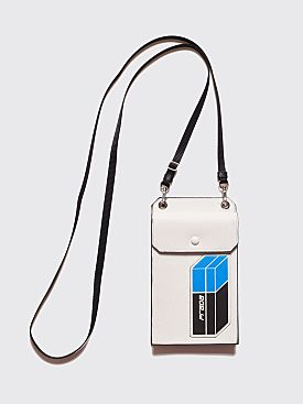 Prada Saffiano Leather Patch Logo Cellphone Bag White
