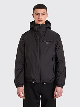 Prada Hooded Nylon Puffer Jacket Black
