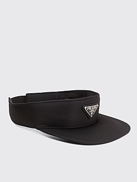 Prada Logo Plaque Nylon Visor Black