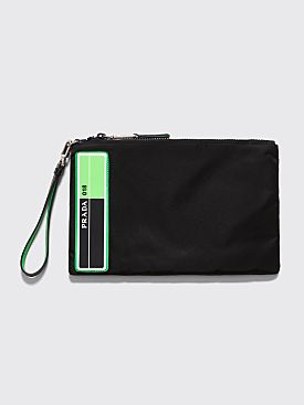 Prada Logo Patch Pouch Black