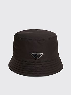 Prada Nylon Bucket Hat Triangle Logo Black