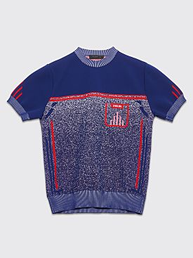 Prada Technical Mouliné Short Sleeve Sweater Blue