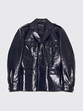 Prada Lux Calf Leather Jacket Baltic Blue