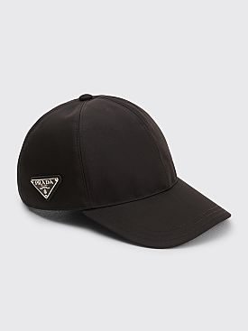 Prada Logo Plaque Nylon Cap Black