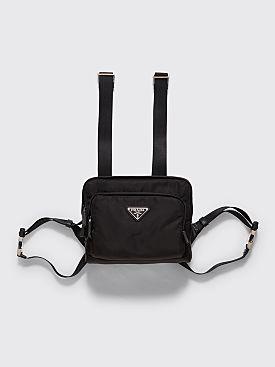 Prada Logo Plaque Nylon Harness Bag Black