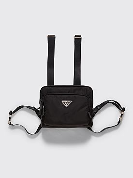 Prada Logo Plaque Nylon Harness Bag Black