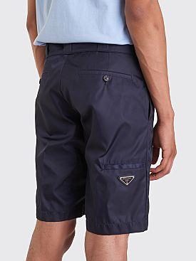 Prada Gabardine Nylon Shorts Navy