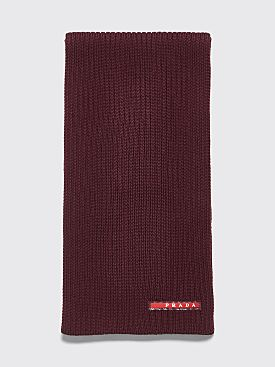 Prada Ribbed Wool Scarf Burgundy