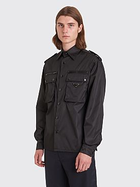 Prada Gabardine Nylon LS Pocket Shirt Black