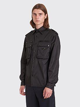 Prada Gabardine Nylon LS Pocket Shirt Black