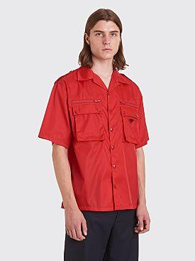 Prada Gabardine Nylon Pocket Shirt Red