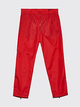 Prada Gabardine Nylon Zip Detail Pants Red