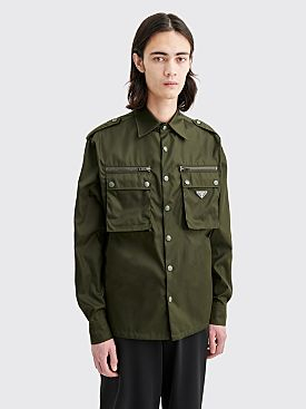 Prada Gabardine Nylon LS Pocket Shirt Green