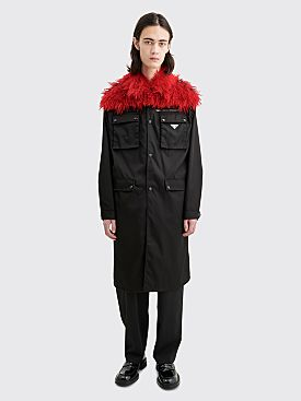 Prada Belted Gabardine Nylon Plush Coat Black / Red