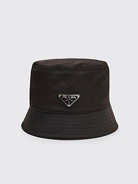Prada Nylon Bucket Logo Hat Black